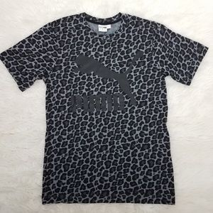 Adidas Leopard Print Graphic Shirt Tee Sz S Gray